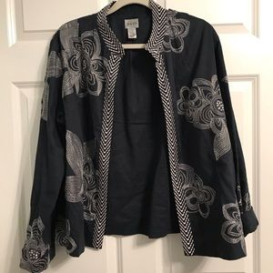 Chico's Black Embroidered Jacket (Size: 3)